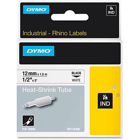 """Dymo White Heat Shrink Tube - 15/32"""" Width x 59 1/16"""" Length - Thermal Transfer - White, Black - Vinyl - 1 Each"""