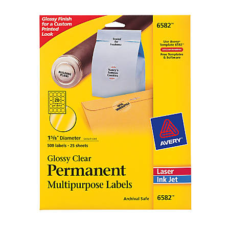 "Avery® Permanent Permanent Inkjet/Laser Multipurpose Labels, 6582, 1 5/8"" Diameter, Glossy Clear, Pack Of 500"