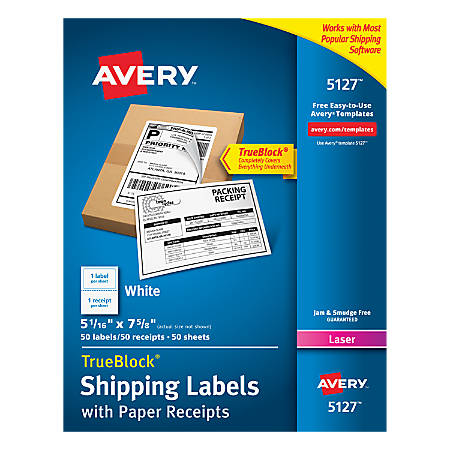 Avery Trueblock White Laser Shipping Labels With Paper Receipt 5127