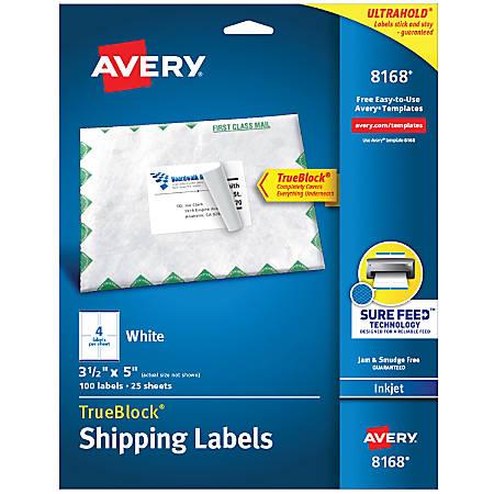 Avery Trueblock Permanent Inkjet Shipping Labels 8168 3 1 3 X 5 White Pack Of 100 Item 934713
