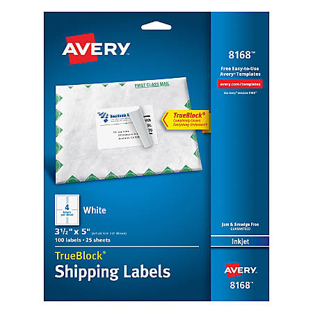Avery TrueBlock Permanent Inkjet Shipping Labels X White - Avery 3x5 template