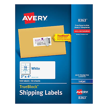 "Avery® TrueBlock® Permanent Inkjet Shipping Labels, 8363, 2"" x 4"", White, Pack Of 500"