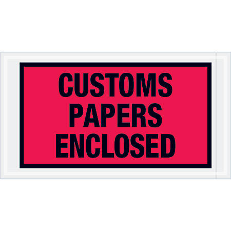 """Tape Logic® Preprinted Packing List Envelopes, Customs Papers Enclosed, 5 1/2"""" x 10"""", Red, Case Of 1,000"""