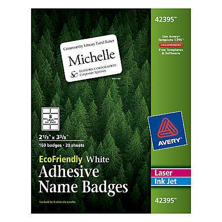"""Avery® EcoFriendly 100% Recycled Name Badges, 2 1/3"""" x 3 3/8"""", White, Pack Of 160"""