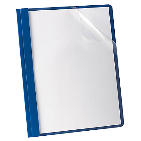 Oxford™ Deluxe Clear Report Cover With 3-Prong Fasteners, 35% Recycled, Dark Blue