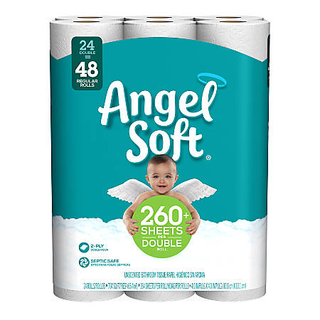 Angel Soft® 2-Ply Toilet Paper, White, 264 Sheets Per Roll, Pack Of 24 Double Rolls