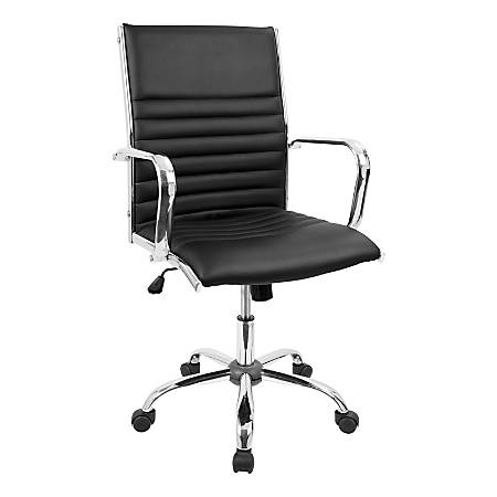 LumiSource Master Faux Leather Contemporary Adjustable Office Chair, Gray/Chrome