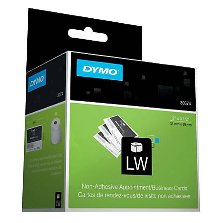 "DYMO® LabelWriter® 30374 Business/Appointment Cards, White, 2"" x 3 1/2"", Roll Of 300 Cards"