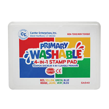 """Center Enterprise Washable 4-In-1 Stamp Pads, 3"""" x 1 1/2"""", Primary, Pack Of 2"""
