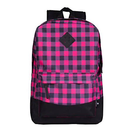 "Volkano Daily Grind Backpack With 18.1"" Laptop Pocket, Pink Plaid"
