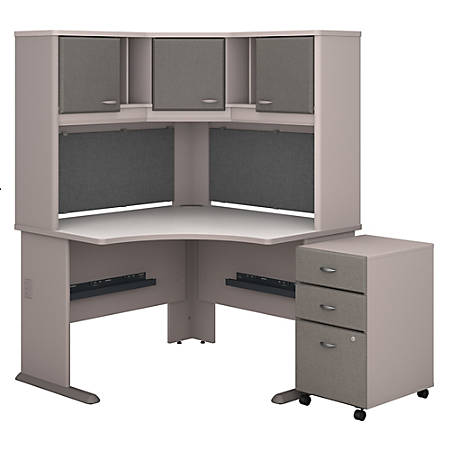 """Bush Business Furniture Office Advantage 48""""W Corner Desk With Hutch And Mobile File Cabinet, Pewter/White Spectrum, Standard Delivery"""