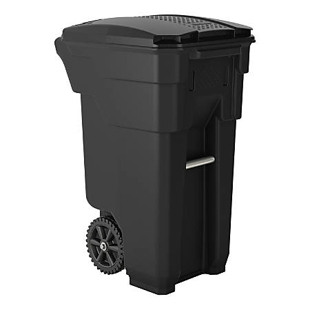 "Suncast Commercial Wheeled Square HDPE Trash Can, 32 Gallons, 36""H x 20""W x 26""D, Gray"