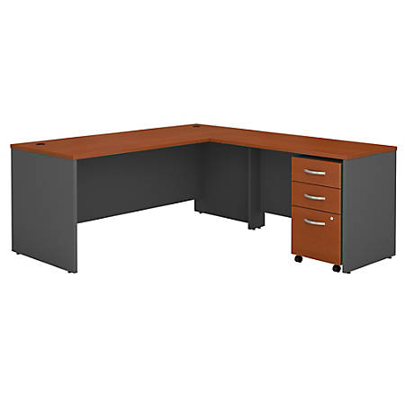 Bush Business Furniture Components 72W L-Shaped Desk With 48W Return And Mobile File Cabinet, Auburn Maple/Graphite Gray, Standard Delivery