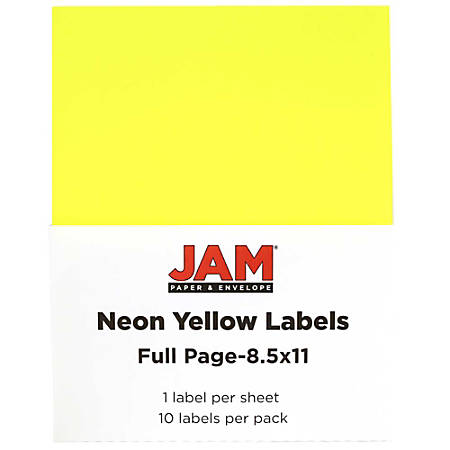 "JAM Paper® Full-Page Mailing And Shipping Labels, 337628611, 8 1/2"" x 11"", Neon Yellow, Pack Of 10"