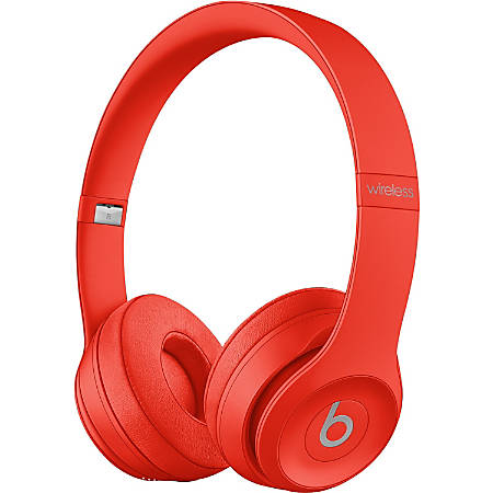 Beats by Dr. Dre Solo3 Wireless Headphones - Stereo - Wireless - Bluetooth - Over-the-head - Binaural - Circumaural - Citrus, Red
