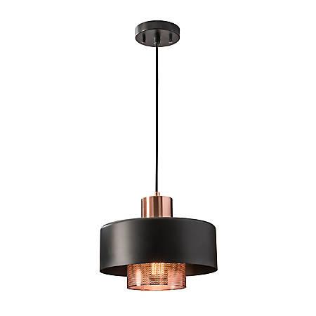 Adesso® Bradbury Hanging Pendant, Copper Shade/Black Base