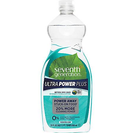 Seventh Generation Ultra Power-Plus Natural Dish Liquid - Liquid - 0.17 gal (22 fl oz) - Fresh Scent - 12 / Carton