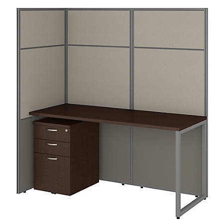 """Bush Business Furniture Easy Office 60""""W Cubicle Desk With File Cabinet And 66""""H Open Panels Workstation, Mocha Cherry, Premium Installation"""