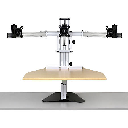 """ERGO DESKTOP Kangaroo Tri-Elite Sit and Stand Workstation, Maple, Fully Assembled - 30 lb Load Capacity - 24"""" Height x 26"""" Width - Steel - Maple"""