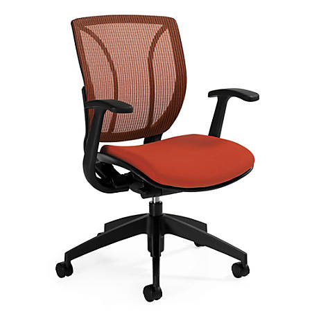 "Global® Roma Fabric Posture Task Chair With Mesh Back, 38""H x 25 1/2""W x 23 1/2""D, Autumn Orange"