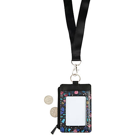 Office Depot® Brand Fashion Lanyard With Badge/Card ID Holder, Victorian Flowers