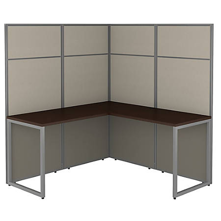 """Bush Business Furniture Easy Office 60""""W L-Shaped Cubicle Desk Workstation With 66""""H Panels, Mocha Cherry, Premium Installation"""