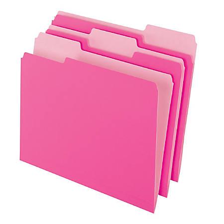 Pendaflex® 2-Tone Color Folders, 1/3 Cut, Letter Size, Pink, Pack Of 100