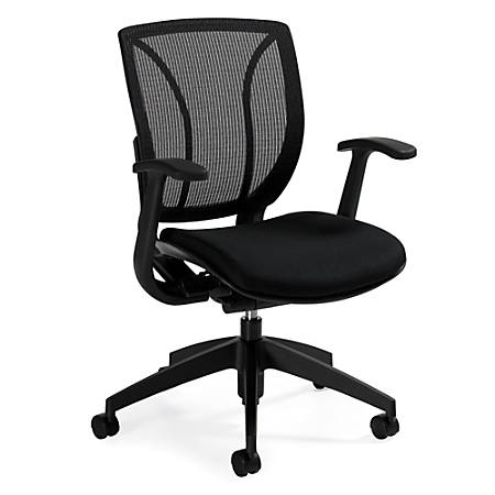 """Global® Roma Fabric Posture Task Chair With Mesh Back, 38""""H x 25 1/2""""W x 23 1/2""""D, Midnight Black"""