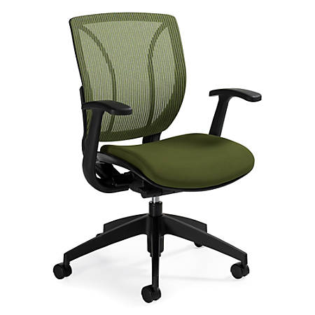 "Global® Roma Fabric Posture Task Chair With Mesh Back, 38""H x 25 1/2""W x 23 1/2""D, Spring Green"