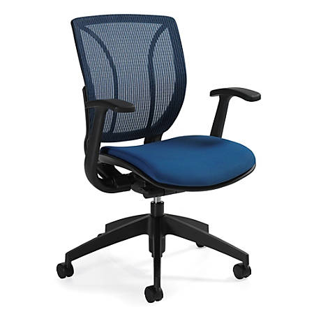 "Global® Roma Fabric Posture Task Chair With Mesh Back, 38""H x 25 1/2""W x 23 1/2""D, Summer Blue"