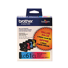 Brother LC61 BlackColor Ink Cartridges Pack