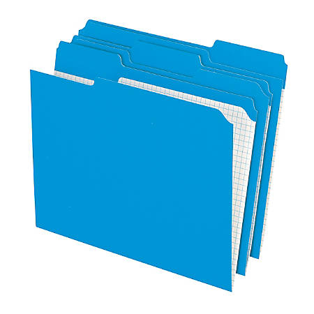 Pendaflex color reinforced top file folders with interior grid 13 cut letter size blue pack of for Pendaflex interior file folders