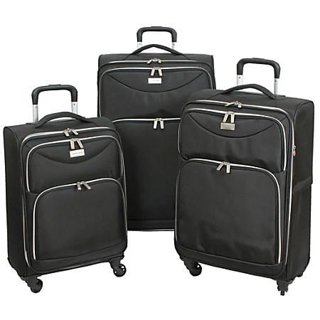 Overland Geoffrey Beene Midnight Fabric Rolling 3-Piece Luggage Set, Black