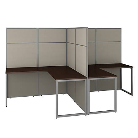 """Bush Business Furniture Easy Office 60""""W 2-Person L-Shaped Cubicle Desk Workstation With 66""""H Panels, Mocha Cherry, Premium Installation"""