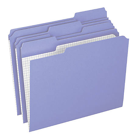 Pendaflex® Color Reinforced Top File Folders With Interior Grid, 1/3 Cut, Letter Size, Lavender, Pack Of 100