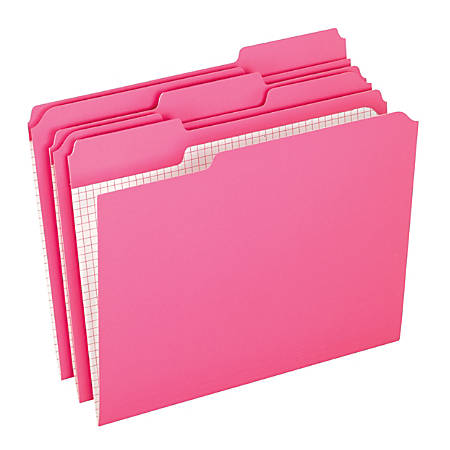 Pendaflex® Color Reinforced Top File Folders With Interior Grid, 1/3 Cut, Letter Size, Pink, Pack Of 100