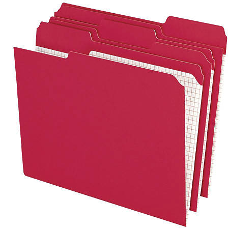 Pendaflex® Color Reinforced Top File Folders With Interior Grid, 1/3 Cut, Letter Size, Red, Pack Of 100