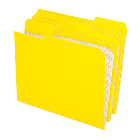 Pendaflex® Color Reinforced Top File Folders With Interior Grid, 1/3 Cut, Letter Size, Yellow, Pack Of 100