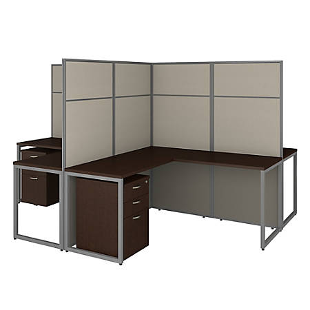 "Bush Business Furniture Easy Office 60""W 4-Person L-Shaped Cubicle Desk With Drawers And 66""H Panels, Mocha Cherry, Premium Installation"