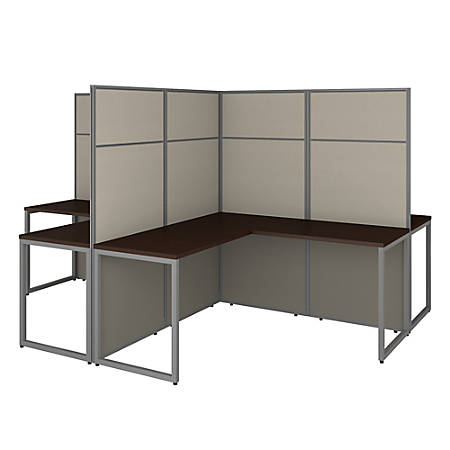 "Bush Business Furniture Easy Office 60""W 4-Person L-Shaped Cubicle Desk Workstation With 66""H Panels, Mocha Cherry, Premium Installation"