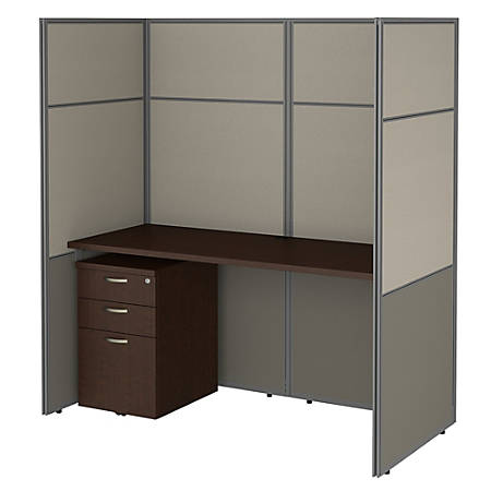 "Bush Business Furniture Easy Office 60""W Cubicle Desk With File Cabinet And 66""H Closed Panels Workstation, Mocha Cherry, Standard Delivery"