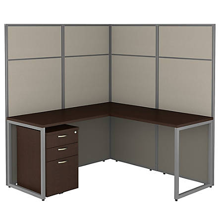 "Bush Business Furniture Easy Office 60""W L-Shaped Cubicle Desk With File Cabinet And 66""H Panels, Mocha Cherry, Standard Delivery"