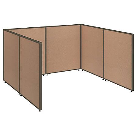 "Bush Business Furniture ProPanels Single Open Cubicle Office, 43""H x 76""W x 74""D, Harvest Tan, Standard Delivery"