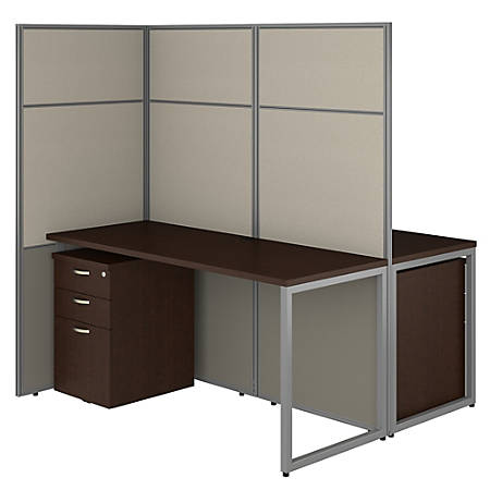 """Bush Business Furniture Easy Office 60""""W 2-Person Cubicle Desk With File Cabinets And 66""""H Panels, Mocha Cherry, Standard Delivery"""