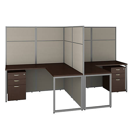 "Bush Business Furniture Easy Office 60""W 2-Person L-Shaped Cubicle Desk With Drawers And 66""H Panels, Mocha Cherry, Standard Delivery"