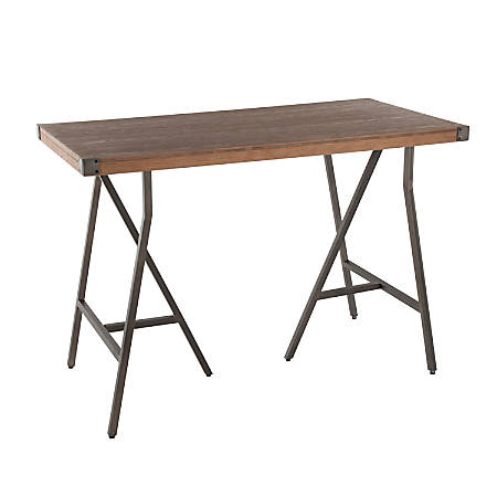 Lumisource Trestle Industrial Counter Table, Rectangular, Brown/Antique