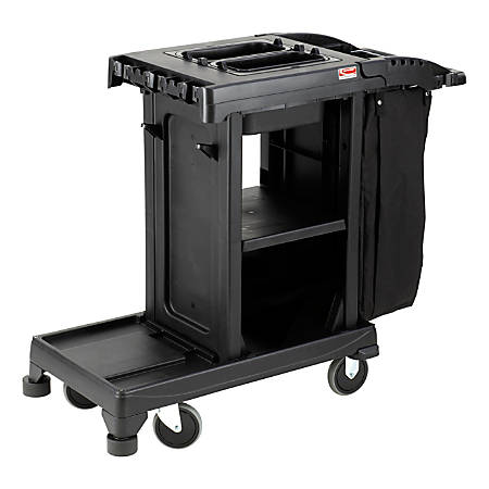 "Suncast Commercial® Resin Cleaning Cart, Compact, 46-5/8""H x 2-1/4""W x 43-7/16""D, Black"