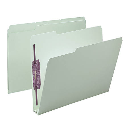 "Smead® Pressboard Fastener Folders With SafeSHIELD® Fasteners, 2"" Expansion, Letter Size, 60% Recycled, Gray/Green, Box Of 25"