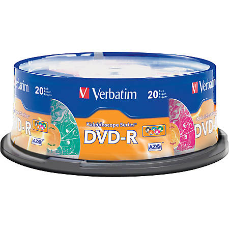 Verbatim® DVD-R Recordable Media, With Spindle, 4.7GB/120 Minutes, Pack Of 20