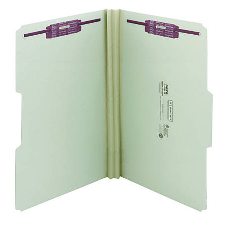 """Smead® Pressboard Fastener Folders With SafeSHIELD® Fasteners, 2"""" Expansion, Legal Size, 60% Recycled, Gray/Green, Box Of 25"""